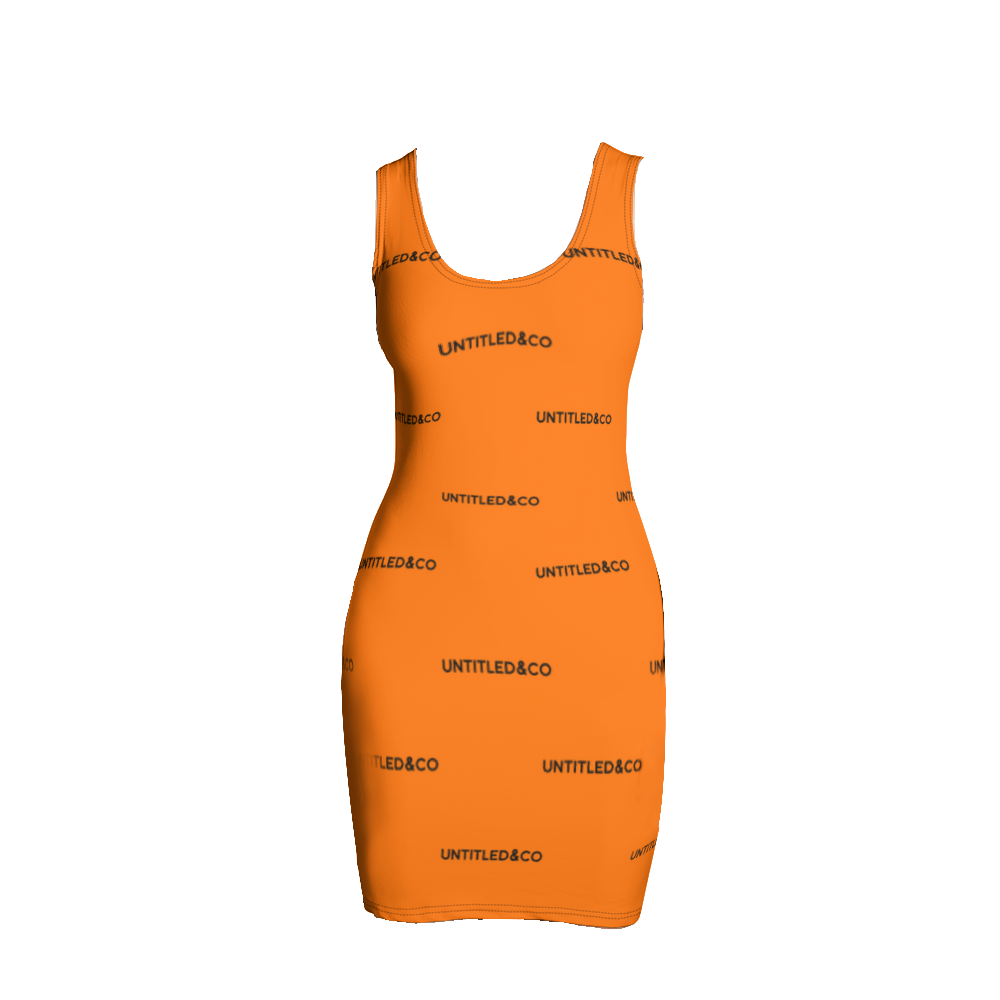 Taya Dress in Orange with Black