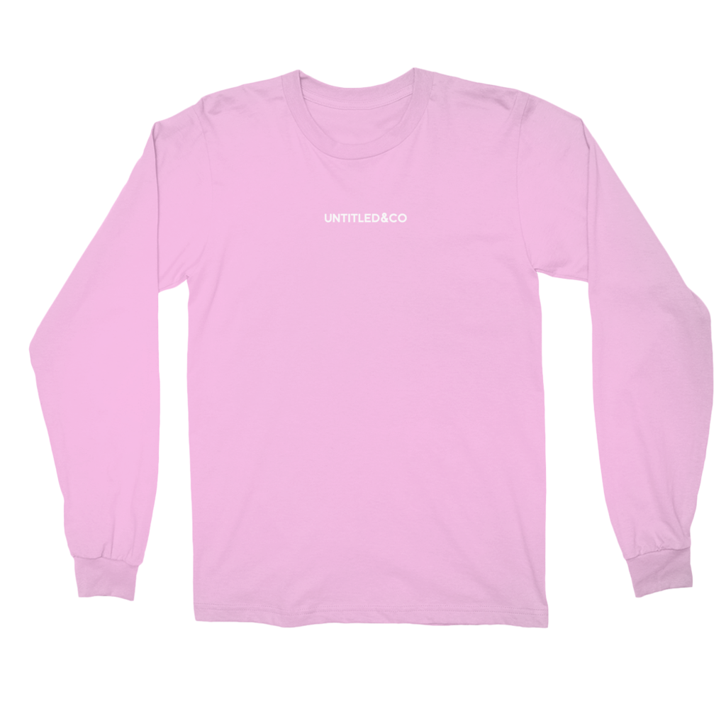 Script Logo Long Sleeve Shirt in Light Pink with White