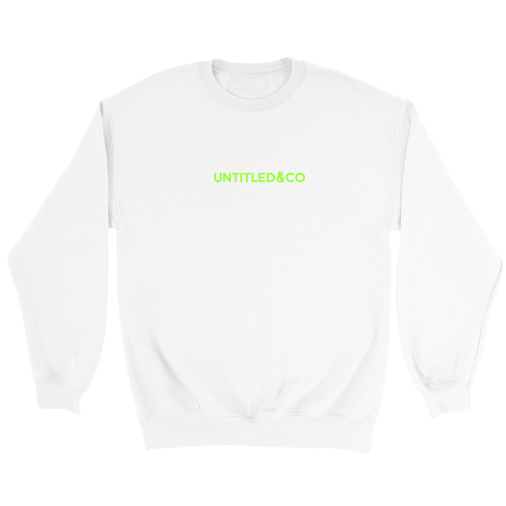Script Logo Crewneck Sweatshirt in White with Green