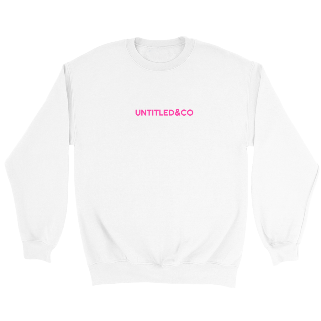 Script Logo Crewneck Sweatshirt in White with Hot Pink