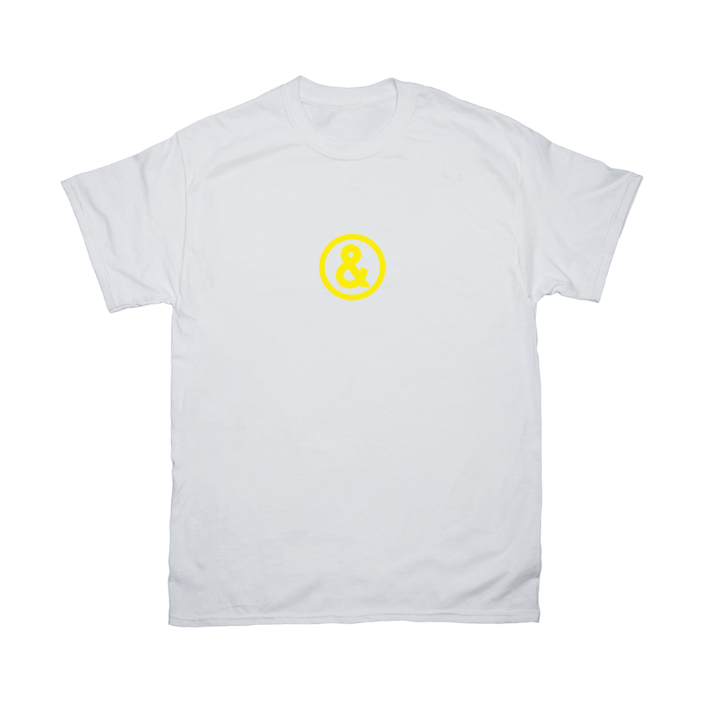 Circle Logo T-Shirt in White with Yellow