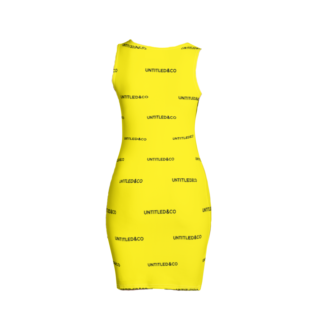 Taya Dress in Yellow with Black
