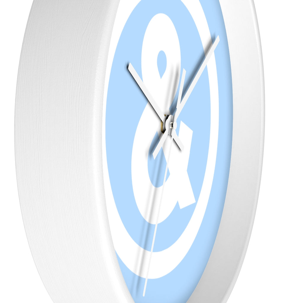 Circle Logo Wall Clock in Light Blue with White