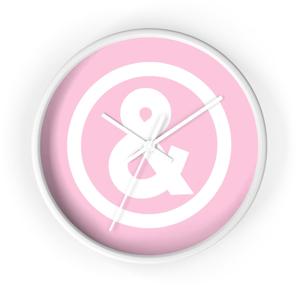 Circle Logo Wall Clock in Light Pink with White