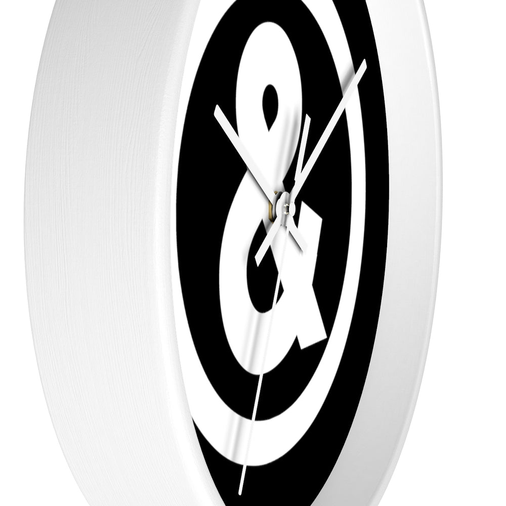 Circle Logo Wall Clock in Black with White