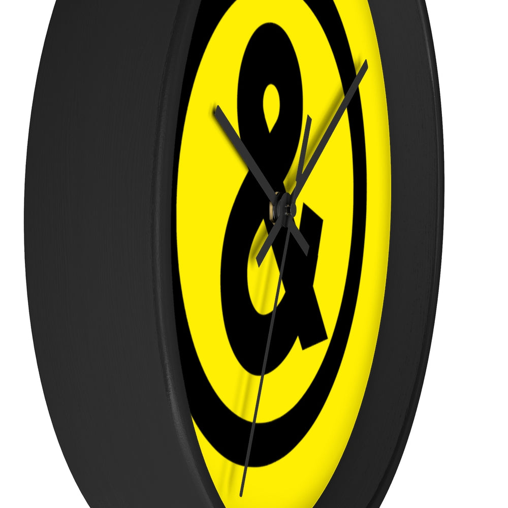 Circle Logo Wall Clock in Yellow with Black