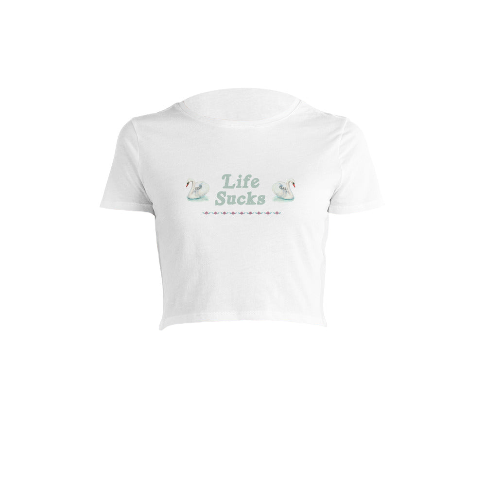 Life Sucks Crop Tee in White