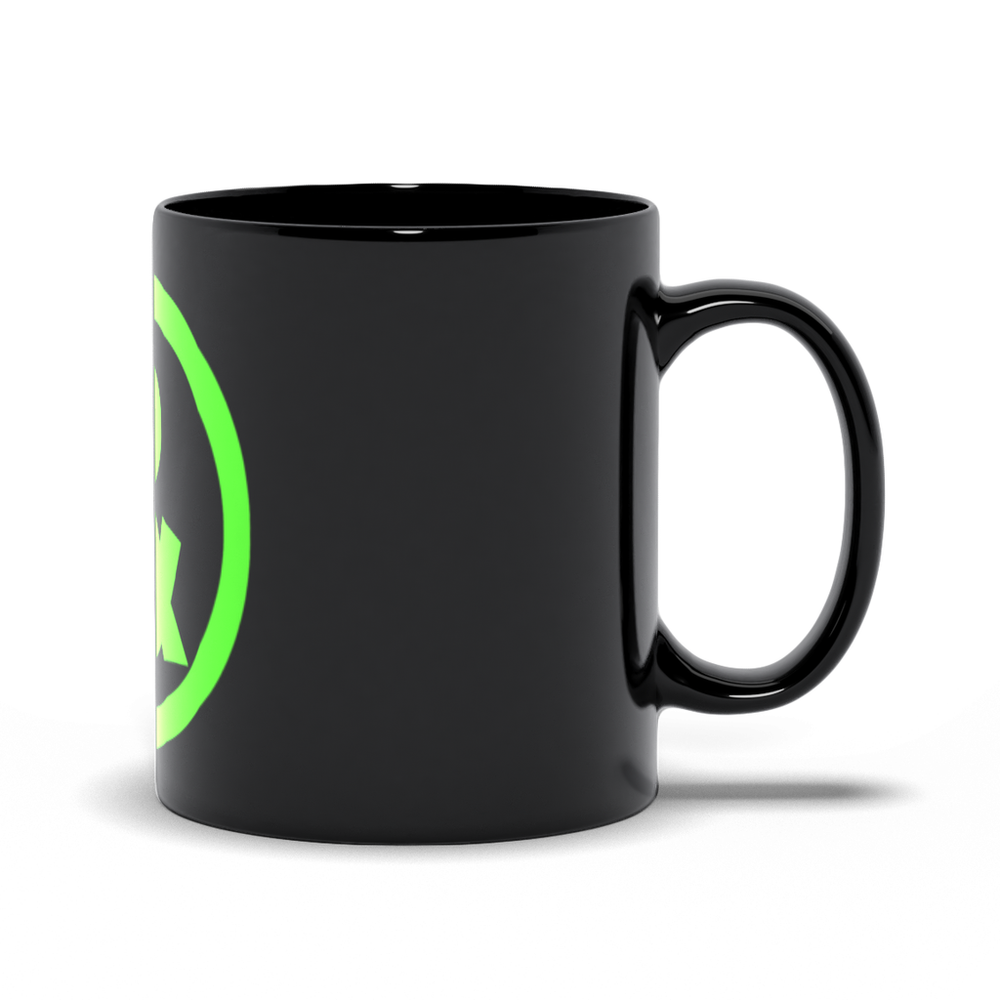 Circle Logo Mug in Black with Green