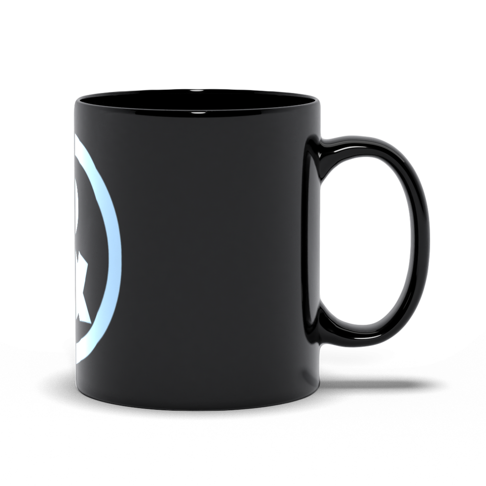 Circle Logo Mug in Black with Light Blue