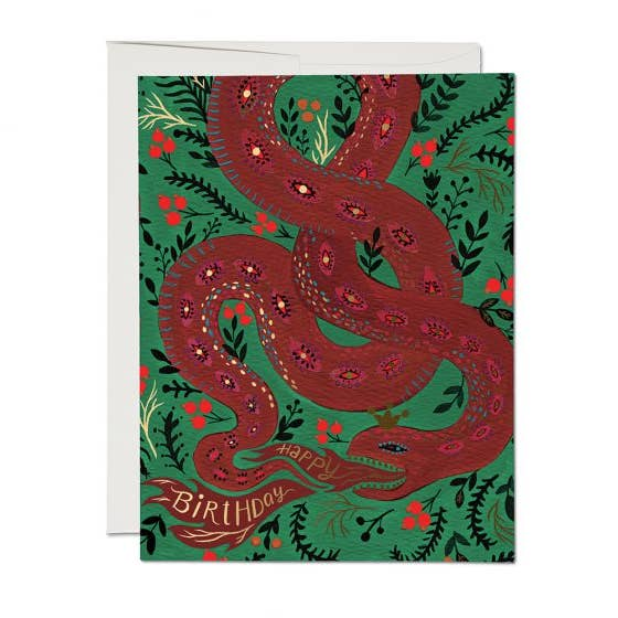 Red Snake Birthday Card