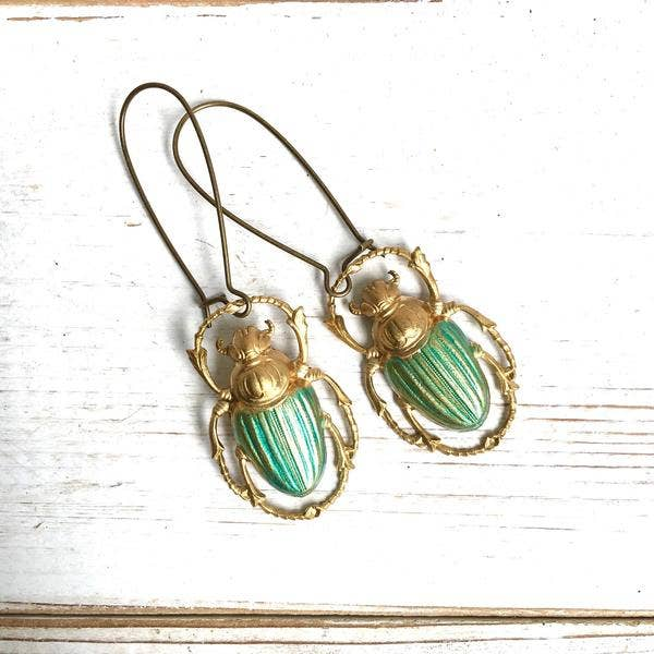 Green Beetle Earrings