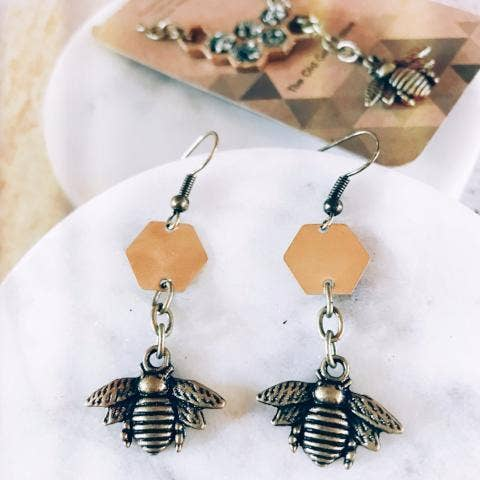 Hexagon Bee Dangle Earrings