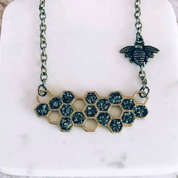 Honeycomb and Bee Necklace
