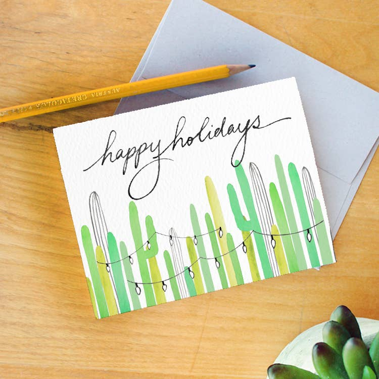 Saguaro Holiday Lights Greeting Card