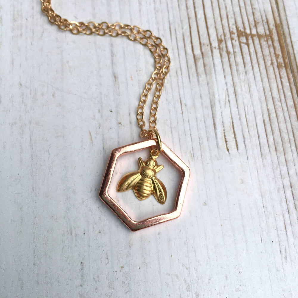 Gold Bumblebee Honeycomb Necklace 22 inches