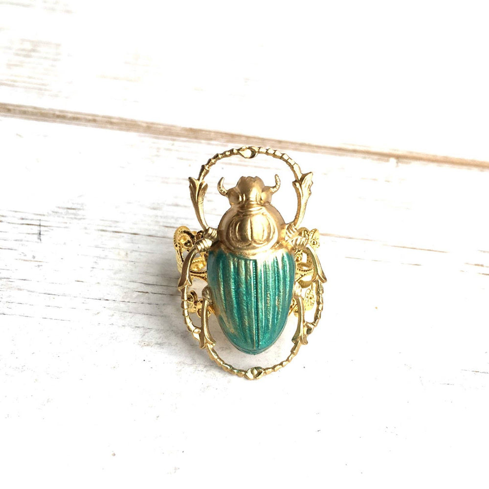 Green & Gold Scarab Ring