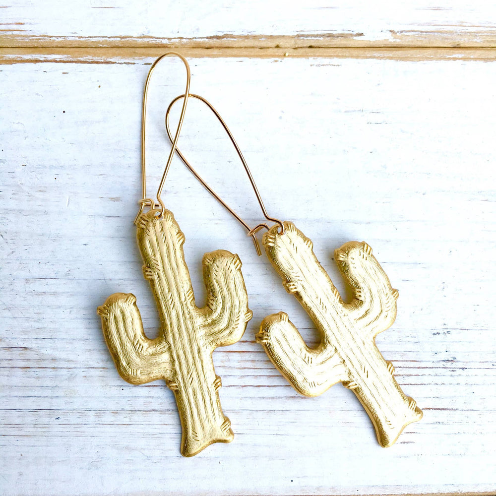 Gold Saguaro Cactus Desert Earrings