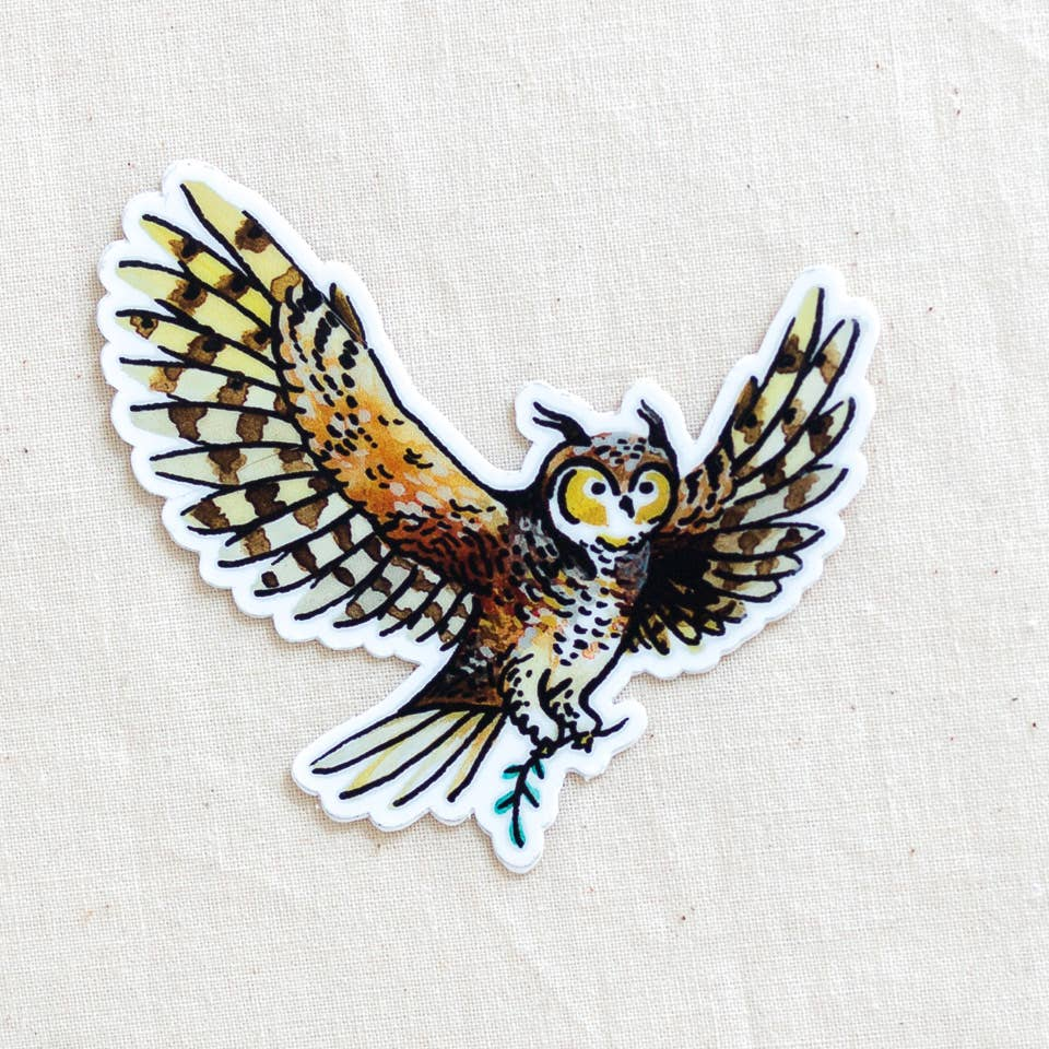 Great Horned Owl Vinyl Sticker