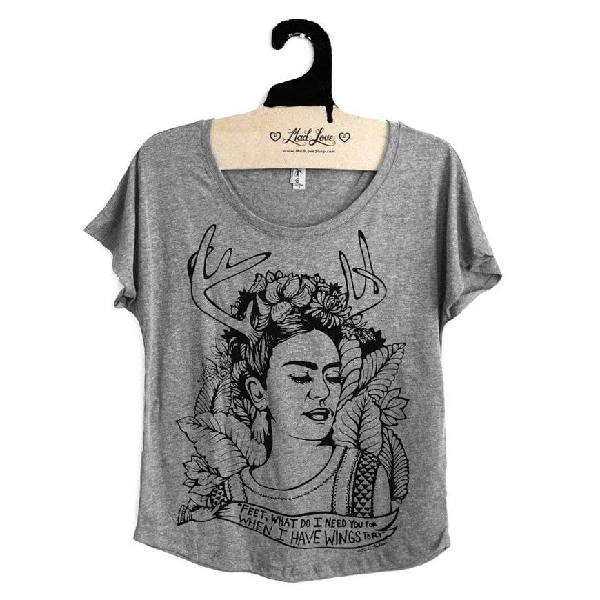 Gray Frida Kahlo Top | Eco-friendly