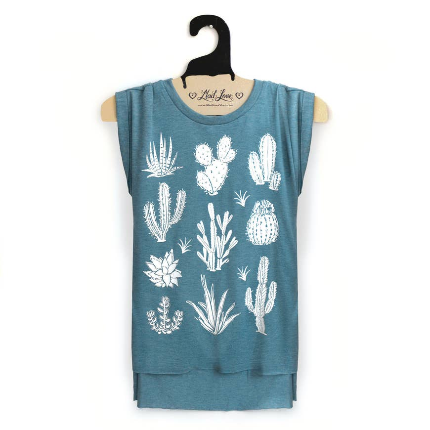 Teal Sleeveless Shirt with Cactus and Succulents Printed in White