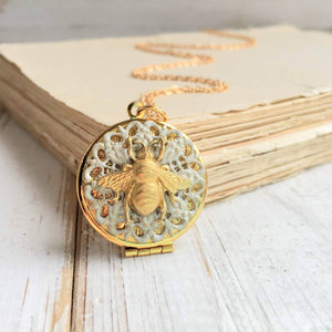 Gold Bumblebee Lace Locket Necklace