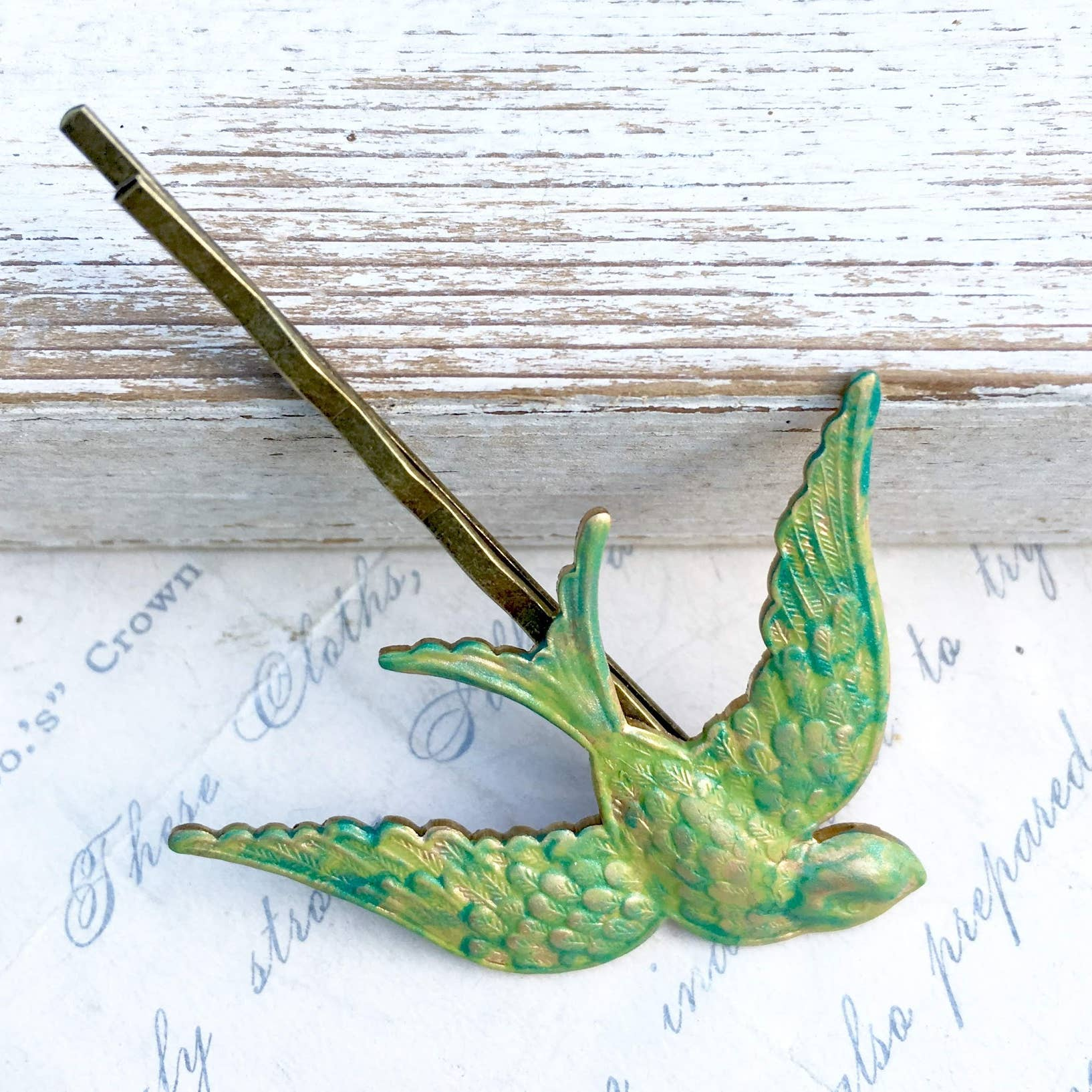 Verdigris Bird Hair Bobby Pin