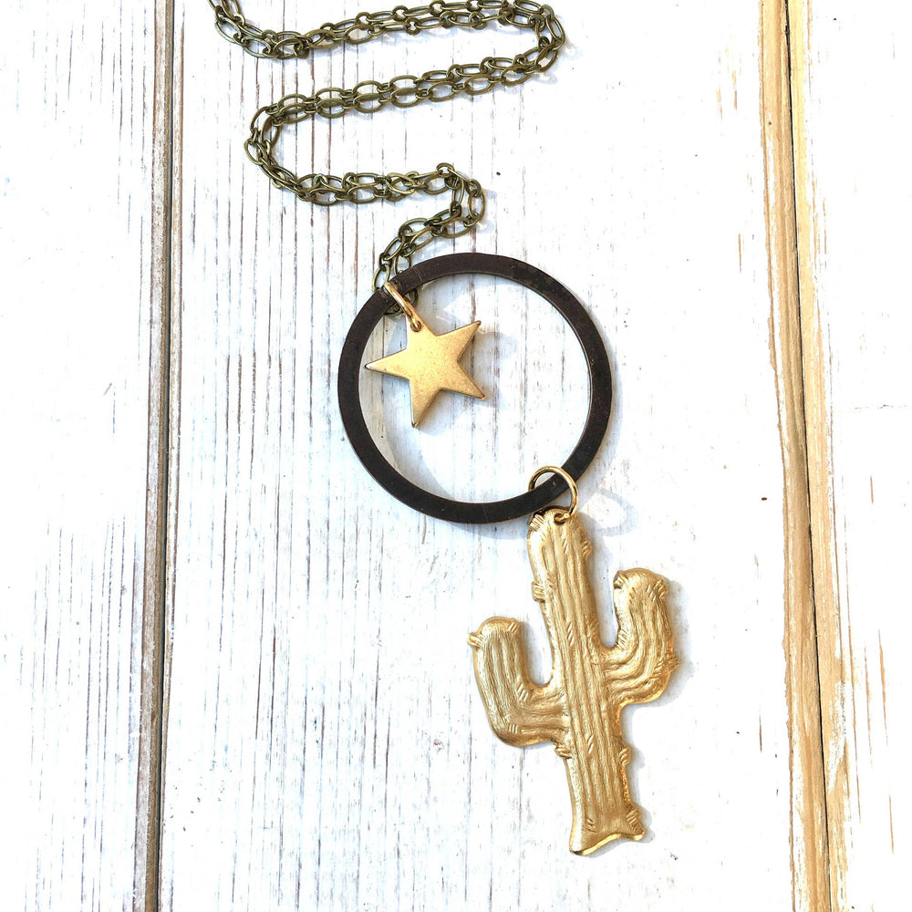 Cactus Night Necklace Star Southwest Desert 26 inches