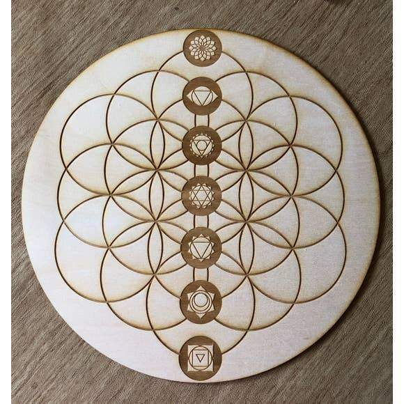Flower of Life Chakra Crystal Grid (4 & 8 inches)