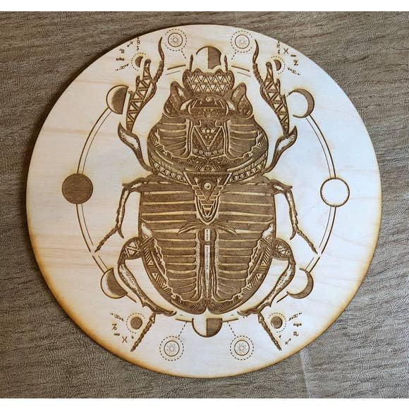 Wood crystal Grid scarab