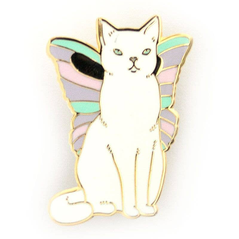 White cat with pastel colored butterfly wings