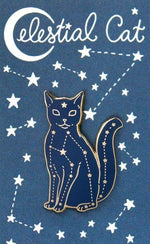 Dark blue cat pin with silver stars