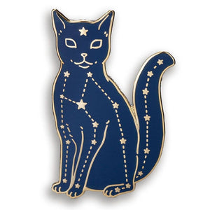 Dark blue cat Pin with silver stars and constellations