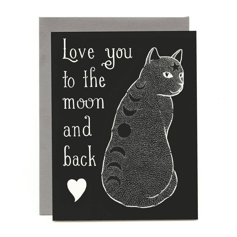 Moon Phase Cat Love and Friendship Greeting Card