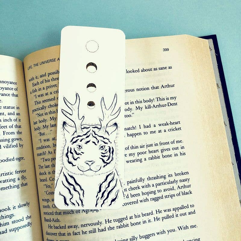 Wizard Tiger | Magician Cat | Moon Phase | Bookmark