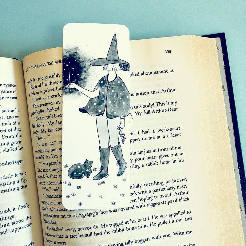 Starry Witch & Cat Bookmark