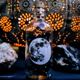 Full Moon apothecary bottle with Black Matches