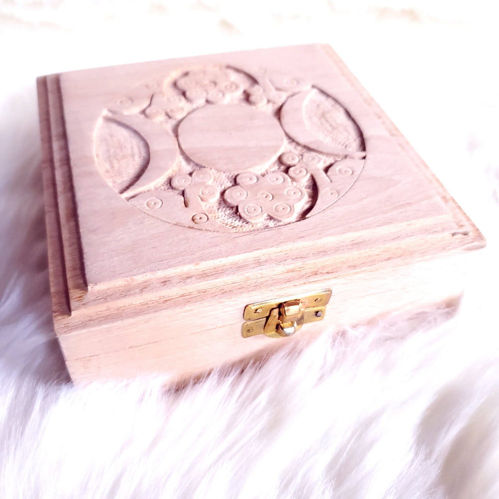 Triple Moon Wood Carved Box