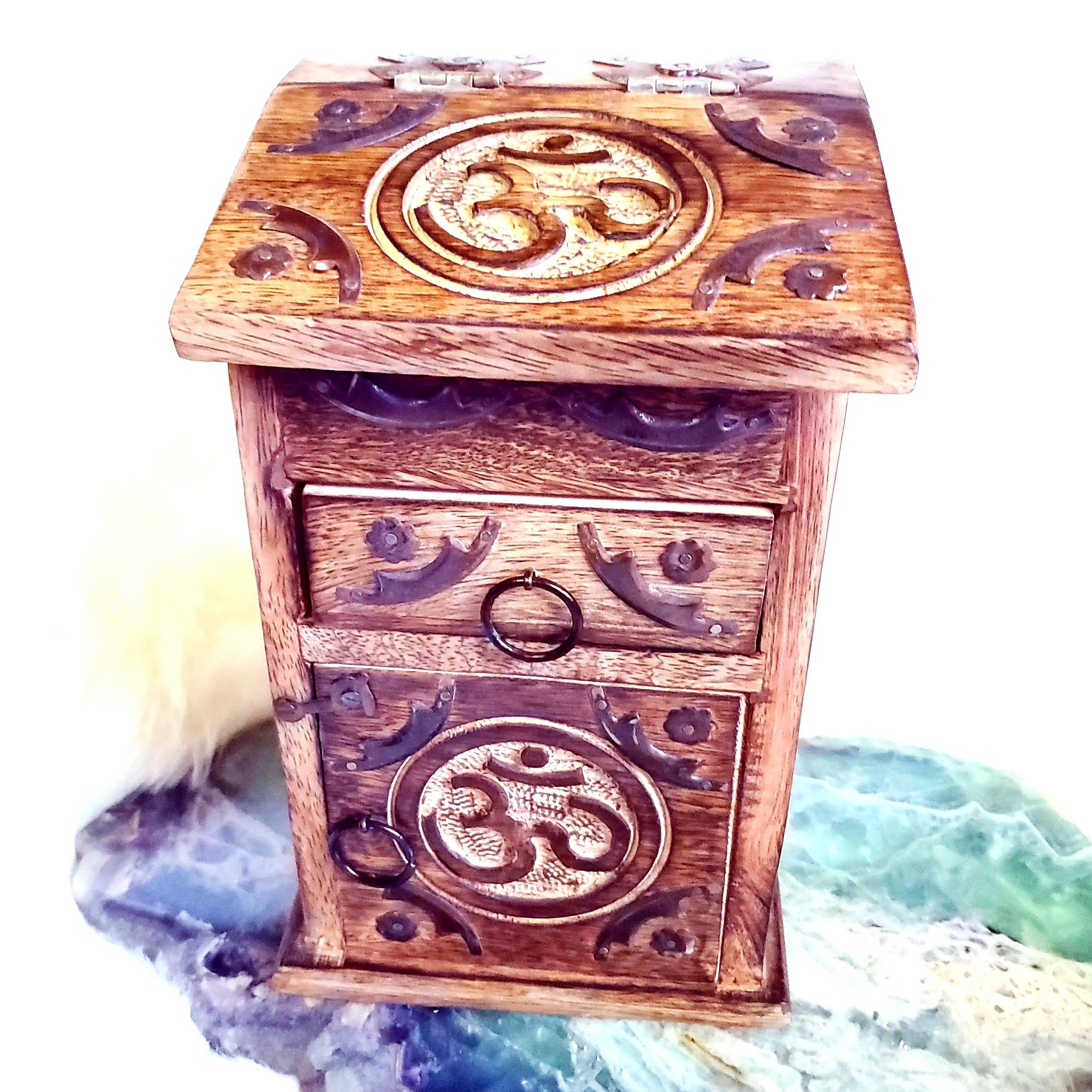 Om Carved Herb Chest