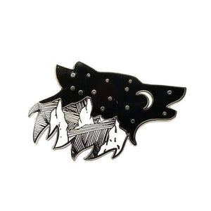 Wolf Night Sky with Mountains Enamel Pin