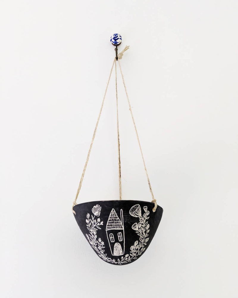 Folk Home Hanging Planter in Black & White