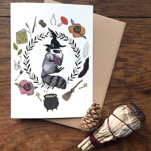 Magic Student Raccoon Greeting Card