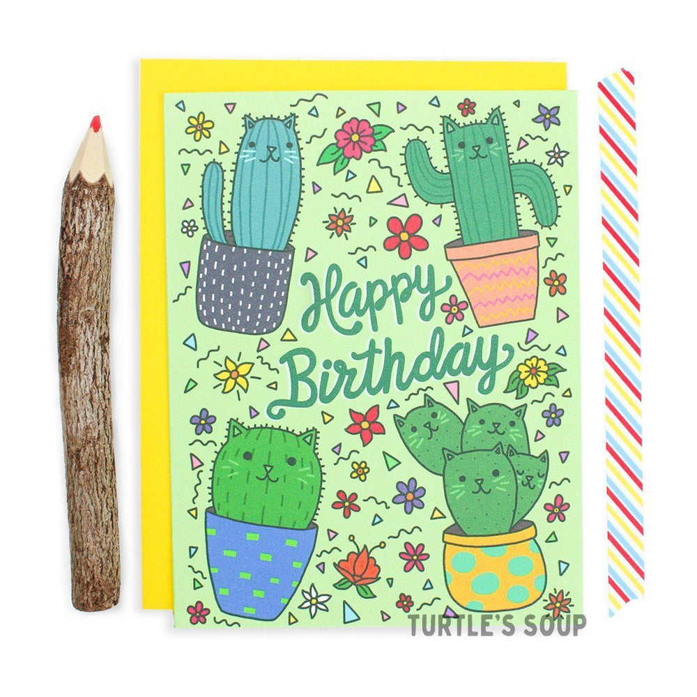 Cacti Cat Birthday Greeting Card