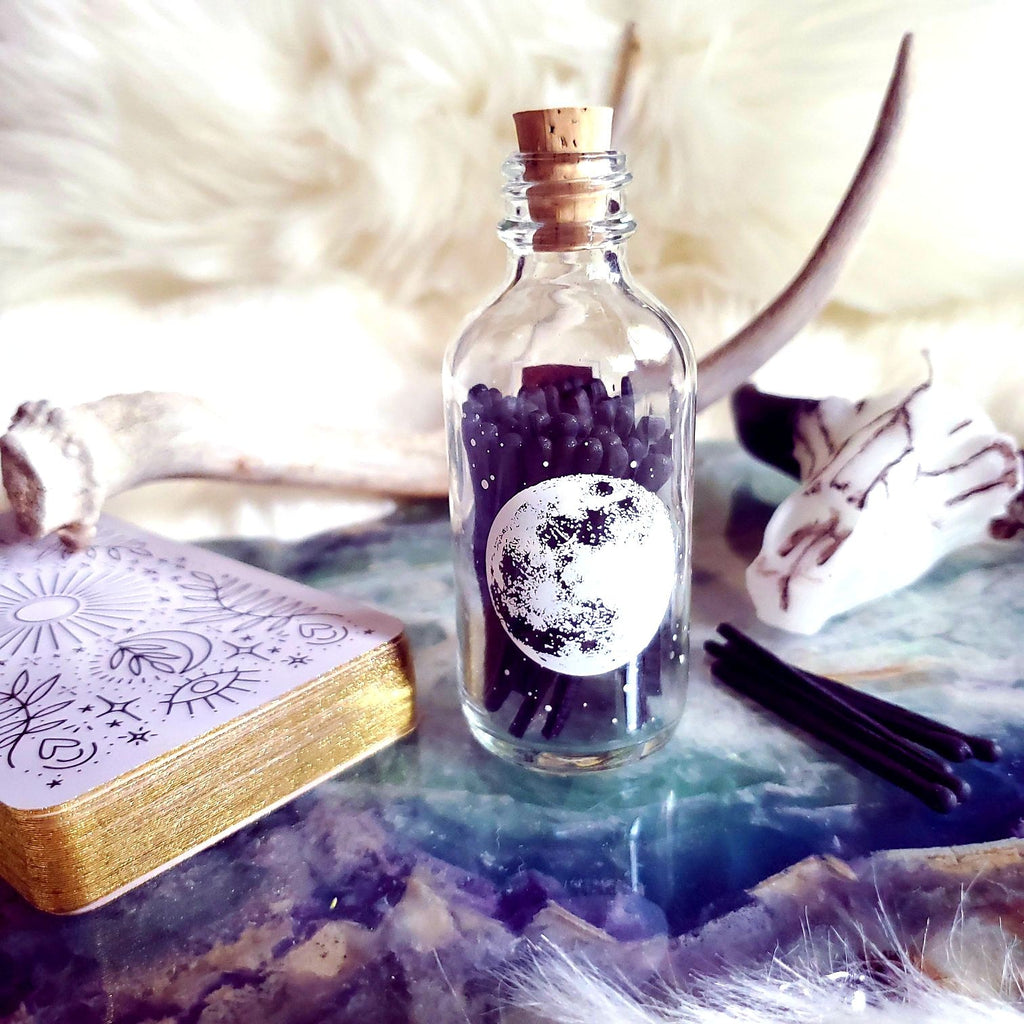 Astronomy Stars and Moon Apothecary Bottle with Black Matches