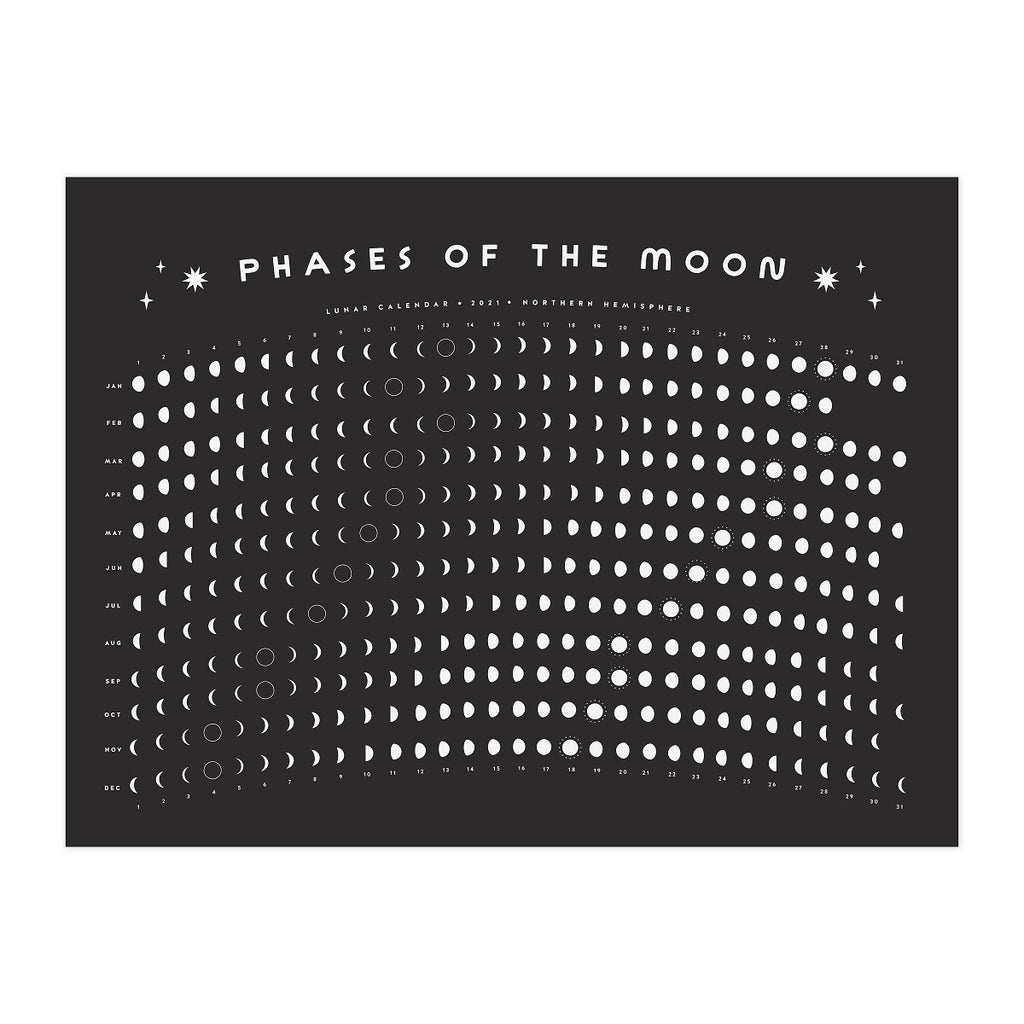 2021 Lunar Moon Calendar - Black