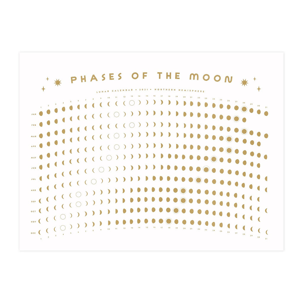 2021 Lunar Moon Calendar - Gold on White
