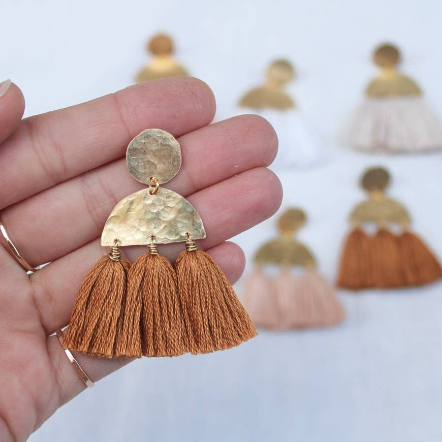 Brass Tassel Post Earrings