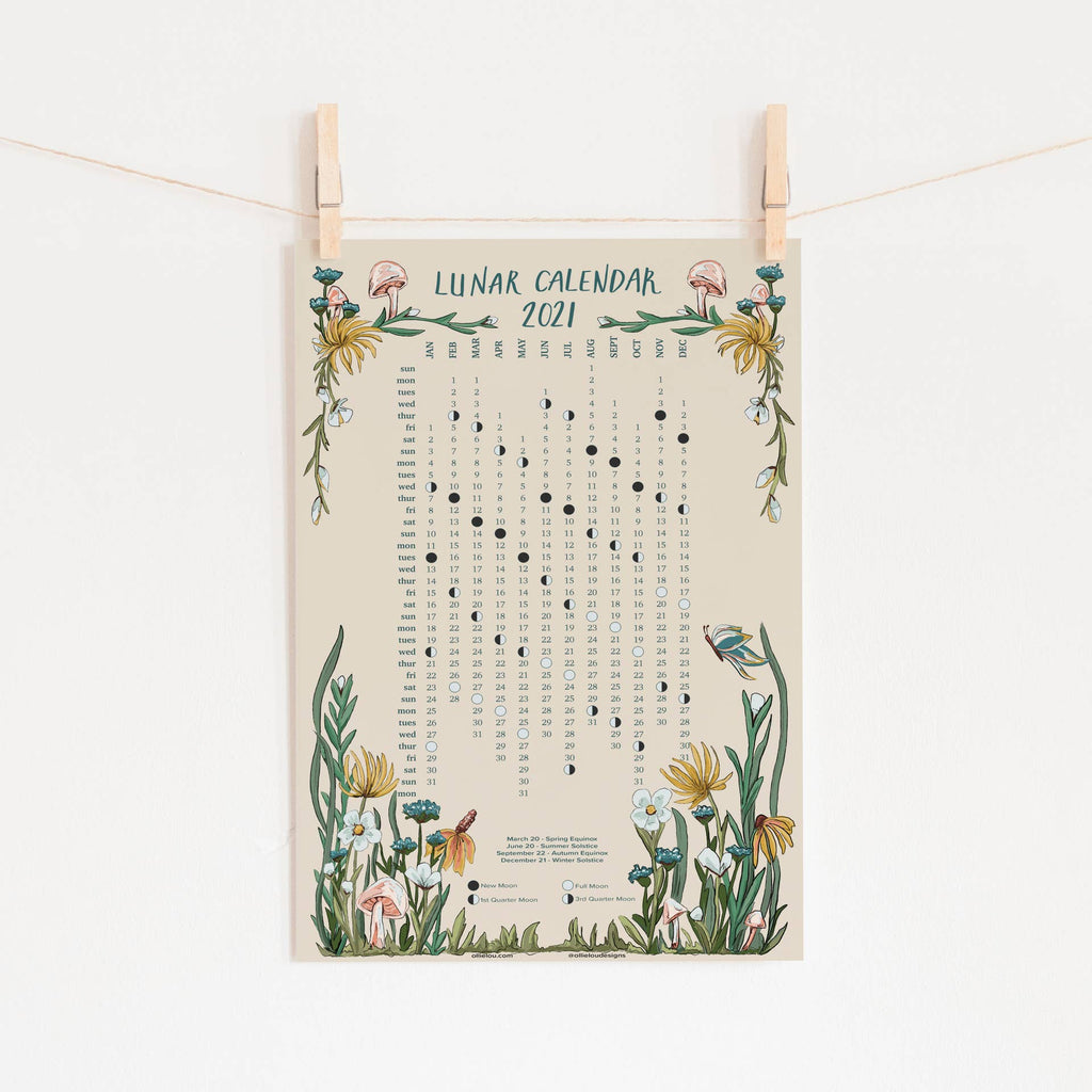 2021 Lunar Moon Phase Wildflower Calendar