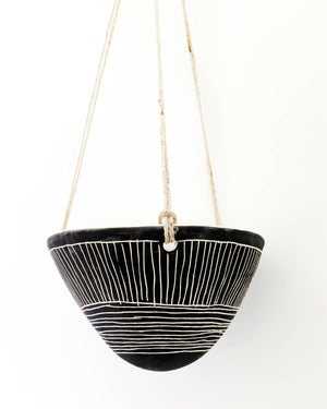 Directional Line Hanging Planter in Black & White