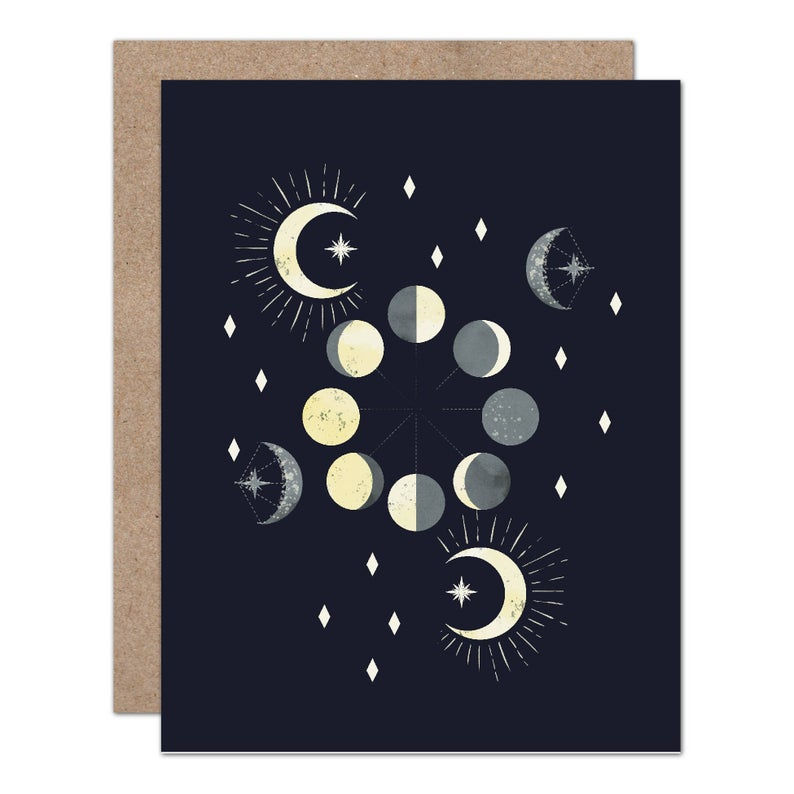 Celestial Moon Phase Greeting Card