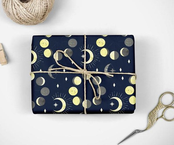 Moon Gift Wrap | Celestial | Lunar | Phases of the Moon